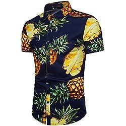 Lenfesh Camisa para Hombre Hawaiana de Piña Estampado Algodón Manga Corta Camisas Casual Verano Playa M-3XL (M, Azul Oscuro)