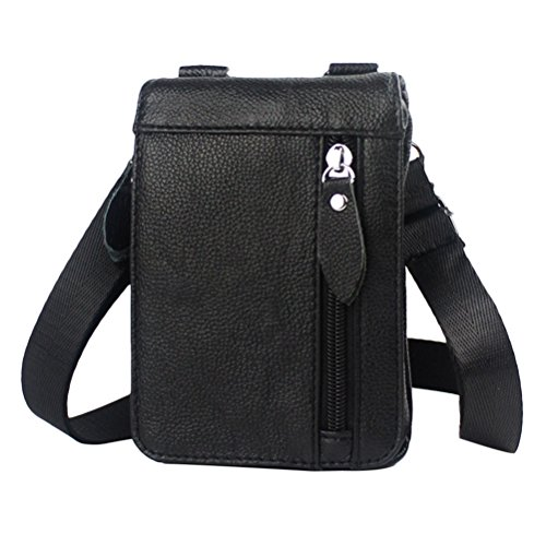 Zhhlinyuan Luxus Mens Lightweight First Cowhide Leather Slim Small Professional Messenger Bag Shoulder Bag Waist Bag (Luxus Messenger Bag)