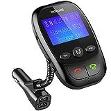Ronxs Trasmettitore FM Bluetooth, Lettore MP3 per Auto Chiamate Hands-free Supporta Micro SD Card, unità FLash USB e Ngresso AUX
