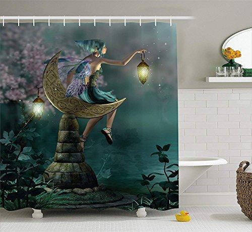 GAOFENFFR Fantasía de Little Pixie con Linterna Sentado en la Luna Piedra Cuentode Hadas Mito Kitsch Arte decoración para Conjunto con Teal Lila