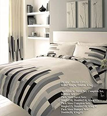 The Fashion City ® New Duvet Set Blocks Printed Duvet Set Confortable Reliable Duvet Set