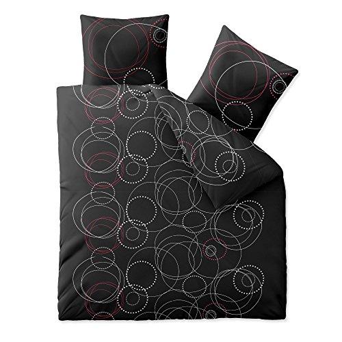3-teilige Bettwäsche | verschiedene Größen | 4-Jahreszeiten 200 x 220 cm | Baumwolle Trend Cariba 3 tlg. | Kreise Punkte anthrazit grau rot