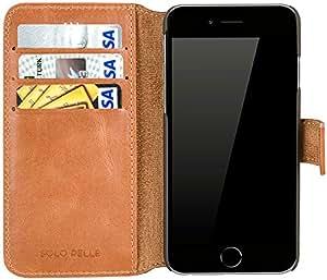 """Solo Pelle Iphone 6 / 6S (4.7 Zoll) """"Wallet"""" Ledertasche mit Aufstellfunktion & Kartenfächern, Cognac Braun"""