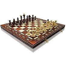 """Grande senatore 41cm x 41cm / 16"""" Set di scacchi in legno. Bruciato ornamenti su Chess Board e scacchi"""