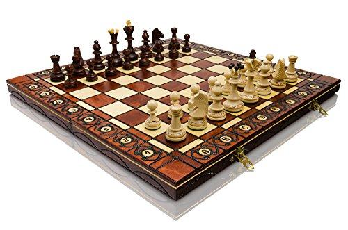 Großen SENATOR 41cm x 41cm / 16' aus Holz Schachspiel. Ornamente auf Schach verbrannt Board und Schachfiguren