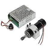 Koolertron CNC Spindelmotor 500W Luftgekühlter Fräsmotor + MACH3 Spindel Drehzahl Power Converter + 52mm Klemme für DIY Gravur