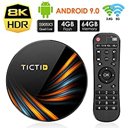 TICTID Android TV Box Android 9.0【4G+64G】 S905X3 Boitier Android TV Bluetooth 4.0, TX6 Plus Amlogic S905X3 Quad-Core Cortex-A55, Box Android TV LAN1000M Wi-FI 2.4G/5G TV Box