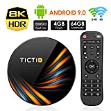 TICTID Android 9.0 TV Box 【4G+64G】 S905X3 Quad-Core, 1000M LAN, Wi-Fi-Dual 5G/2.4G, Cortex A55 CPU, BT 4.0, USB 3.0, 8K*4K*2K Smart TV Box