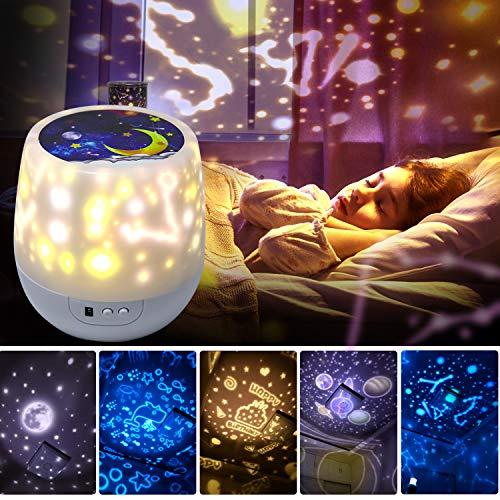 Sternenhimmel Projektor Nachtlicht, 360 drehendes rundes Nachtlicht, 6 Farb-Dimmbare Kombinationen, 3 Helligkeitsanpassungen Projektionslampe Romantisch für Home Party Geburtstag Dekor