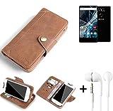 K-S-Trade® Schutzhülle für Archos Sense 55 S Hülle Tasche Handyhülle Handytasche Wallet Flipcase Cover Handy Tasche Kunsteleder Braun Inkl. in Ear Headphones