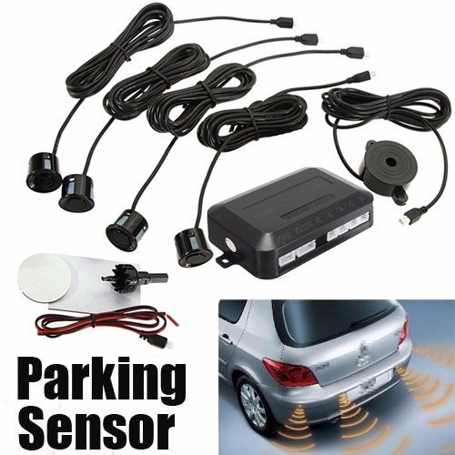 ELEGIANT Parksensoren Einparkhilfe Rückfahrhilfe Wasserdicht Parken Radar Sensibeler Rückfahrwarner Parkassistent Auto Parken Sensor Kombi Set 4 Sensors LED Alarmlampe für Autos Kraftwagen Lastwagen