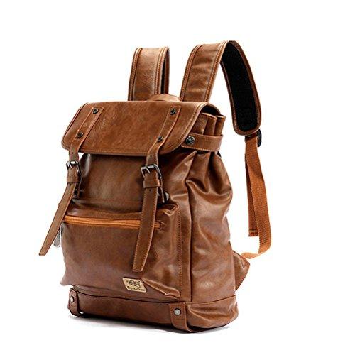 YFbear Retrò Vintage Zaini in Pelle PU Esterni Viaggi Zaino Scuola Borsa a Tracolla fit iPad e 14' Laptop Backpack per Uomo e Donna (Marrone)