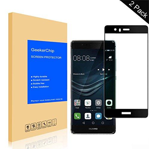 GeekerChip Panzerglas Schutzfolie für Huawei P9[2 Stück], Volle Deckung Bildschirmschutzfolie Folie Screen Protector Schutzglas für Huawei P9