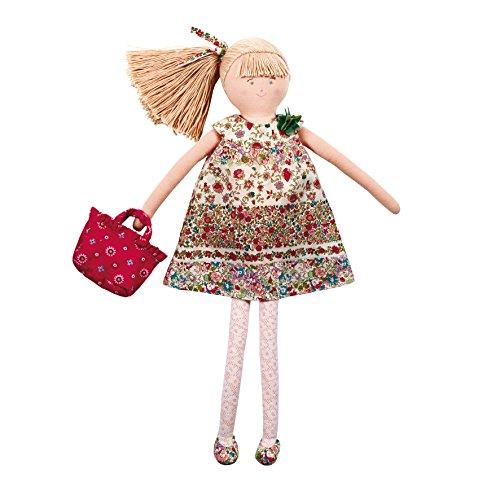 Trousselier - Poupée en Tissus - Collector - Grande Poupée en Robe 50 cm - Chambre Fleurs Rouges
