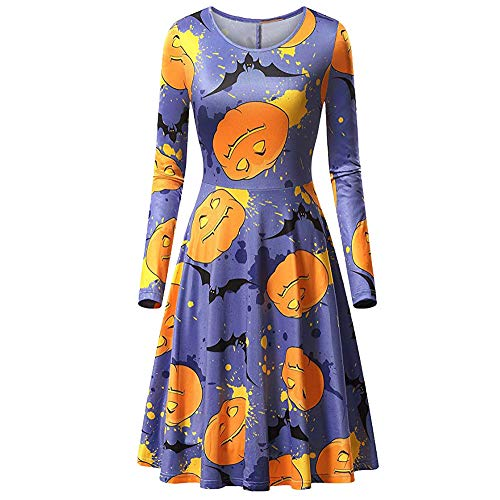 (TEBAISE Damen Vintage Kleid Cocktailkleid Midikleid Bleistift Kleid Rockabilly Kleid Festliche Bodycon Enges Kleid Halloween (Blau,XL))