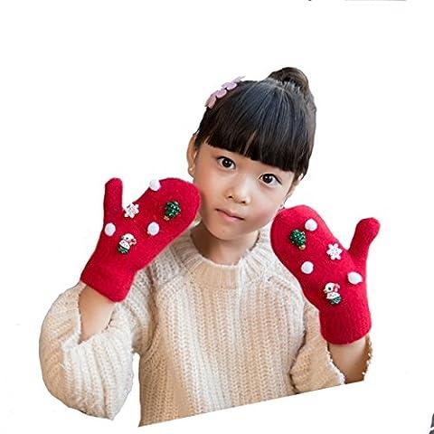 Butterme Children Kids Girls Boys Winter Warm Double Layer Knitted Full Finger Gloves Cartoon Snowflake Santa Claus Reindeer Pattern Christmas Gloves ()
