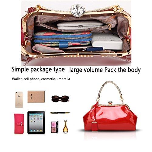 Tisdain La nuova borsa femminile laccata di cuoio di vernice di modo ha placcato il raccoglitore della signora di svago del sacchetto del messaggero della spalla rosso
