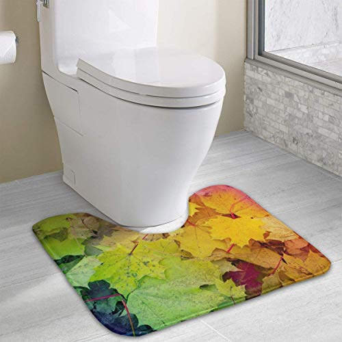 Vidmkeo Fall Maple Leaves Leaves Contour Bath Rug, U-Shaped Polyester Toilet Floor Mat Non Slip Bathroom Shower Carpet -