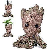 AOLVO Macetero para Plantas, Maceta de Dibujos Animados con Agujero para bebé, Figura de Guardianes de la Galaxia, Soporte para bolígrafos, macetas Personalizables