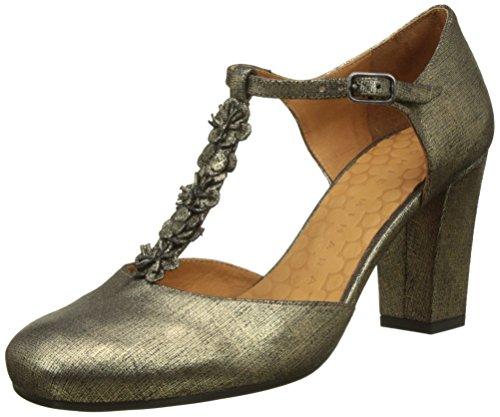 Chie Mihara anaio, Zapatos con Tacon y Tira Vertical para Mujer, Dorado Ginza Oro, 38 EU