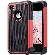 ULAK iPhone 4 case / iPhone 4S Carcasa Funda Cases caso Anti Golpes Hñbrida de Silicona Protectora para Apple iPhone 4 4s (Rojo)