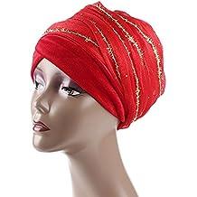 Ssowun Fletion Gorro de turbante gorro mujer cancer de terciopelo con nuevo hilo de seda dorada
