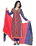 Lookslady Embroidered Pink Georgette Semi Stitched Salwar Suit Straight A-Line Wedding wear