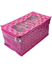 Kuber Industries Fabric Jewellery Kit With 10 Transparent Pouches (Pink)