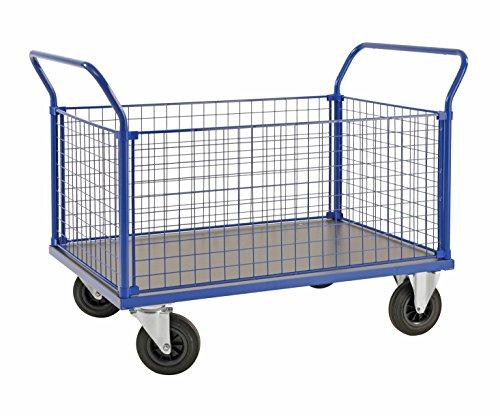 Schwerlast 500 Kg Gewicht (Plattformwagen | Transportwagen aus Stahl mit 4 Gitterwänden (Kofferaufbau) - 500 kg Tragkraft, 1000 x 700 x 520 mm, Vierwandwagen / Industrie-wagen / Gitter-wagen mit Seitenwänden und Vollgummi-Reifen)