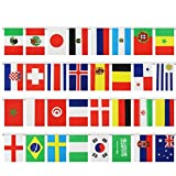LUOEM Internationale Flaggen Banner String 2018 World Cup Top 32 Fahnen Banner Nationalflaggen Banner für Olympiaden, Sportvereine, Party-Events Dekorationen