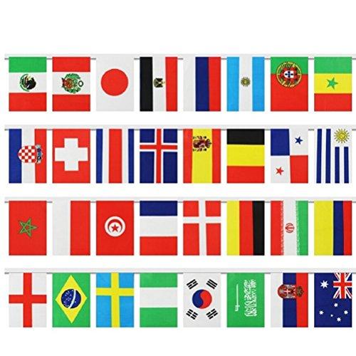 LUOEM Internationale Flaggen Banner String 2018 World Cup Top 32 Fahnen Banner Nationalflaggen Banner für Olympiaden, Sportvereine, Party-Events Dekorationen