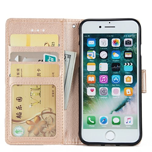 iPhone 7 Coque Dragonne Portefeuille PU Cuir Etui,iPhone 7 Coque Ultra Fine,iPhone 7 Etui Cuir Folio Housse PU Leather Case Wallet Flip Protective Cover Etui [PU Cuir et TPU Silicone Inner Case] Porte Or