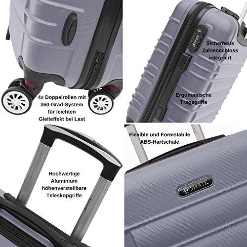SHAIK SerieCLASSIC JFK Design Hartschalen Trolley, Koffer, Reisekoffer 4 Doppelrollen Zwillingsrollen, Zahlenschloss (Großer Koffer, Schwarz) - 3