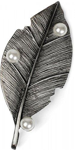 styleBREAKER Blatt Magnet Schmuck Anhänger mit Perlen für Schals, Tücher oder Ponchos, Brosche, Damen 05050031, Farbe:Silber (Echte Designer-kleidung)