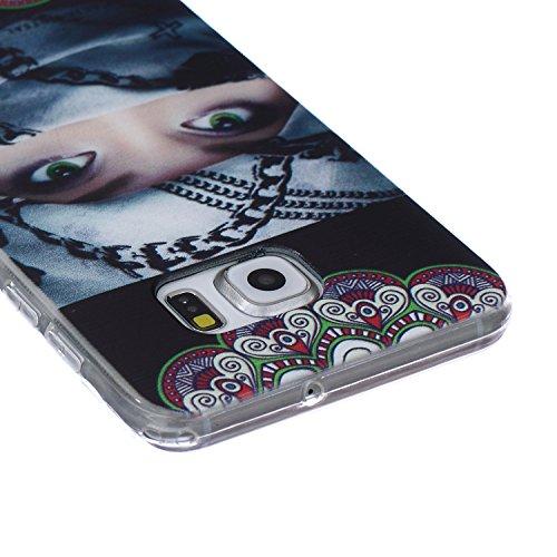 Ekakashop Coque pour Samsung Galaxy S6 Edge Plus, Ultra Slim-Fit Flexible Souple Housse Etui Back Case Cas en Silicone pour Galaxy S6 Edge Plus, Soft Cristal Clair TPU Gel imprimée Couverture Bumper d Femme foulard enroulé