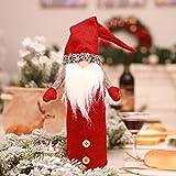 Bolange Hand-freie Gesicht Puppe Flasche Set Weinflaschenverschluss Weinflaschenverschluss + Weinflasche Set Mode Weihnachtsdekoration Tisch (rot)