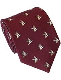 Cravate Soie avec Motif de Canard, Bordeaux, Lloyd Attree & Smith
