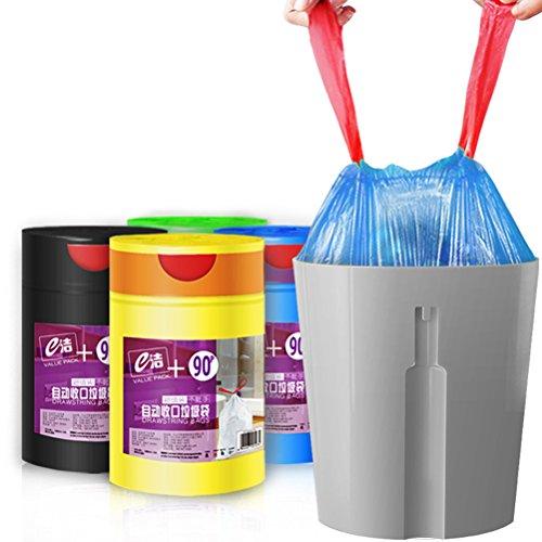 Aosbos Drawstring Trash Bags–15L–90count immondizia addensare spazzatura, per bagno, cucina, camera da letto, ufficio, plastica, Blue, Misura unica