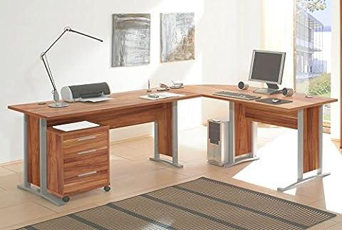 Office Line Winkelkombination Schreibtisch Ecktisch Tisch Bürotisch in walnuss, walnuss