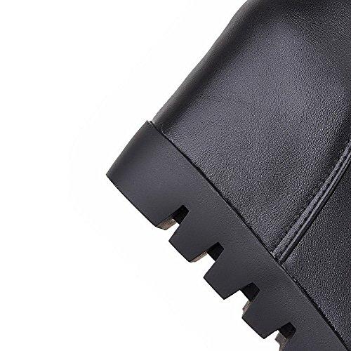 VogueZone009 Donna Punta Tonda Alta Altezza Tacco Alto Puro Stivali con Ornamento Di Metallo Nero