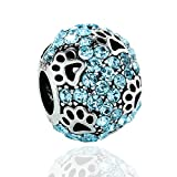 Cat Dog Paw Print Tiere 925Sterling Silber Charms Sea Blau CZ Pet passend für Armbänder Halskette amatolove Schmuck