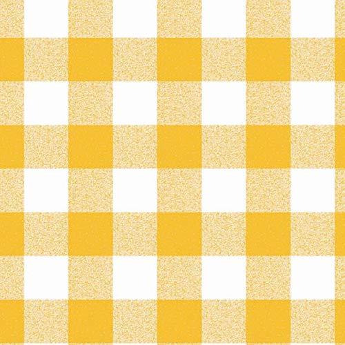Tischdecke abwaschbar Gartentischdecke Meterware Karo Kariert Gelb Weiß 107-4 ÖkoTex (100 x 140 cm) ()
