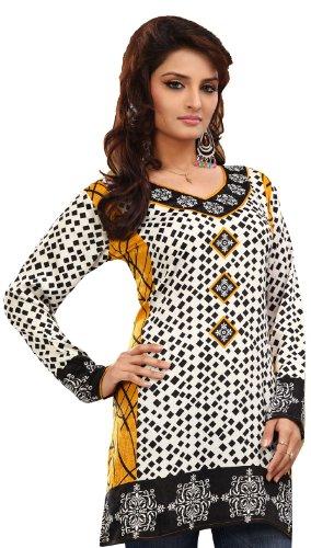 MapleClothing Indien Tunika Top Kurti Womens Bedruckt Bluse Indische Kleidung Weiß 4