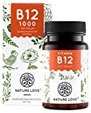 NATURE LOVE® Vitamin B12 Vegan - Vergleichssieger 2020* - 1000µg, 180 Tabletten. Beide aktive Formen Adenosyl- & Methylcobalamin + Depot + Folat 5-MTHF aus Quatrefolic® - Hochdosiert, made in Germany