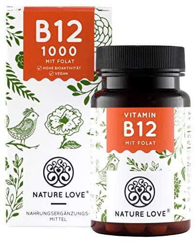 NATURE LOVE® Vitamin B12 Vegan - Vergleichssieger 2020* - 1000µg, 180 Tabletten. Beide aktive Formen Adenosyl- & Methylcobalamin + Depot + Folat 5-MTHF aus Quatrefolic® - Hochdosiert, made in Germany