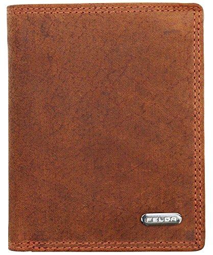 Felda portafoglio da uomo - design verticale - portamonete - pelle - marrone scuro