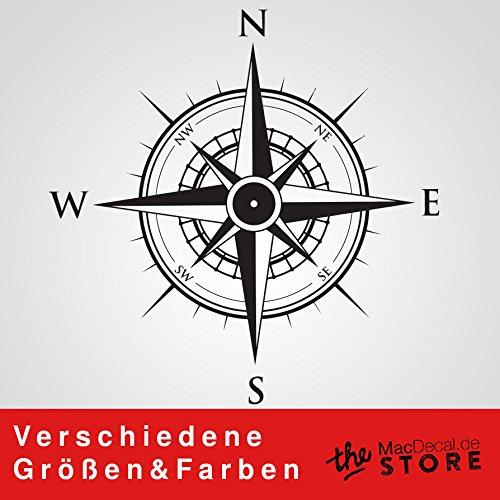 KOMPASS Aufkleber Wandtattoo Wandaufkleber Sticker (40 (B) x 40 (H) cm, Schwarz) (Kompass-folie)