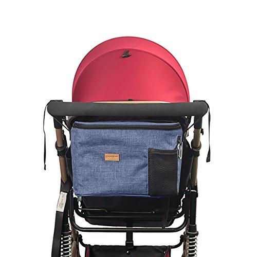 SONARIN Kinderwagen Organizer Tasche Baby Wickeltasche für Windeln, Babykleidung, Flaschen, Umhängetasche, Große Kapazität Tasche,Unverzichtbares Kinderwagen-Zubehör,Ideal Geschenk(Blau)