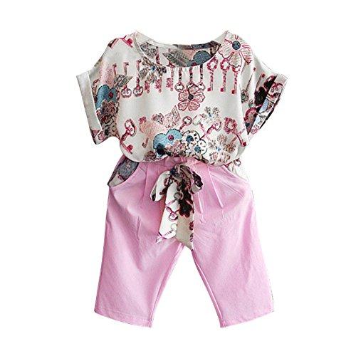 Wongfon Mädchen Baby Fledermaus Ärmel Shirt Floral T-Shirt + Capri Hosen Set Mode Sommer Kleidung Outfit für 1-6 Jahre