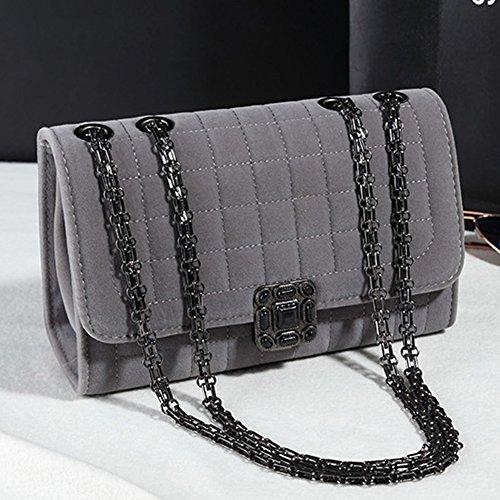 Damen Kleine Umhängetasche Schulterkette Gitter Abendtasche Handtasche Satchel Messenger Purse Tasche Gold Schwarz Schwarz Grau